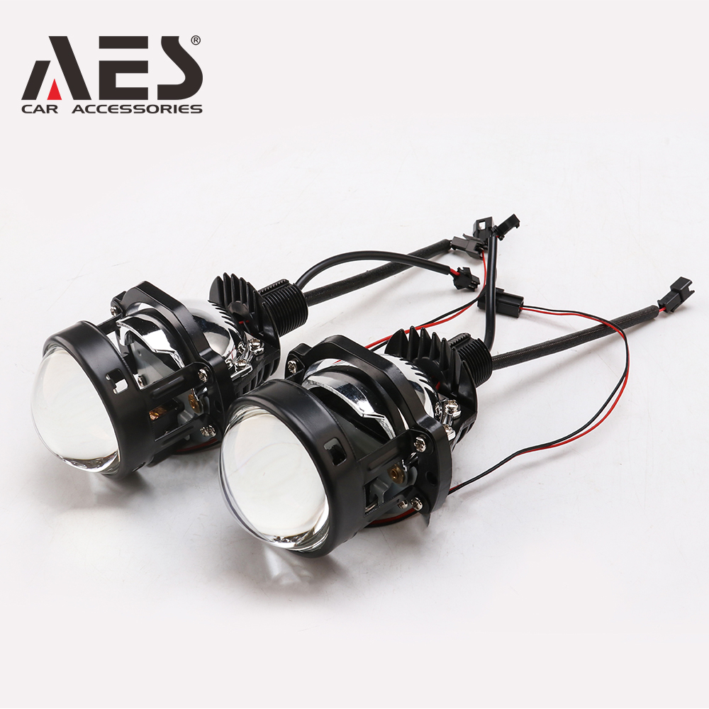 AES 2PCS Mini 30W  Bi LED Projector Lens 1.8inch 2inch Headlight With Decoration Shroud Universal Blue Glass Refit Auto Parts
