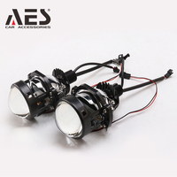 AES 2PCS Mini 35W Bi LED Projector Lens 1.8inch 2inch 2.5inch Headlight With Decoration Shroud Universal Blue Glass Auto Parts