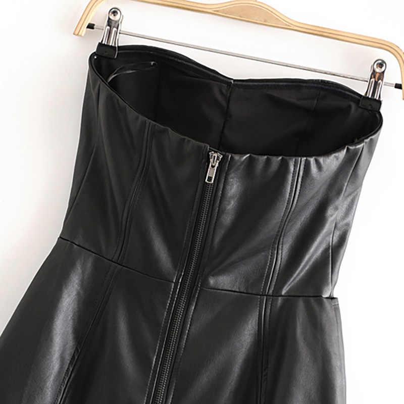 Sexy Backless Schwarz Pu Leder Overall Frauen Tasten Solide Dünne Party Overall Dame Sleeveless Zipper Stilvolle Club Body