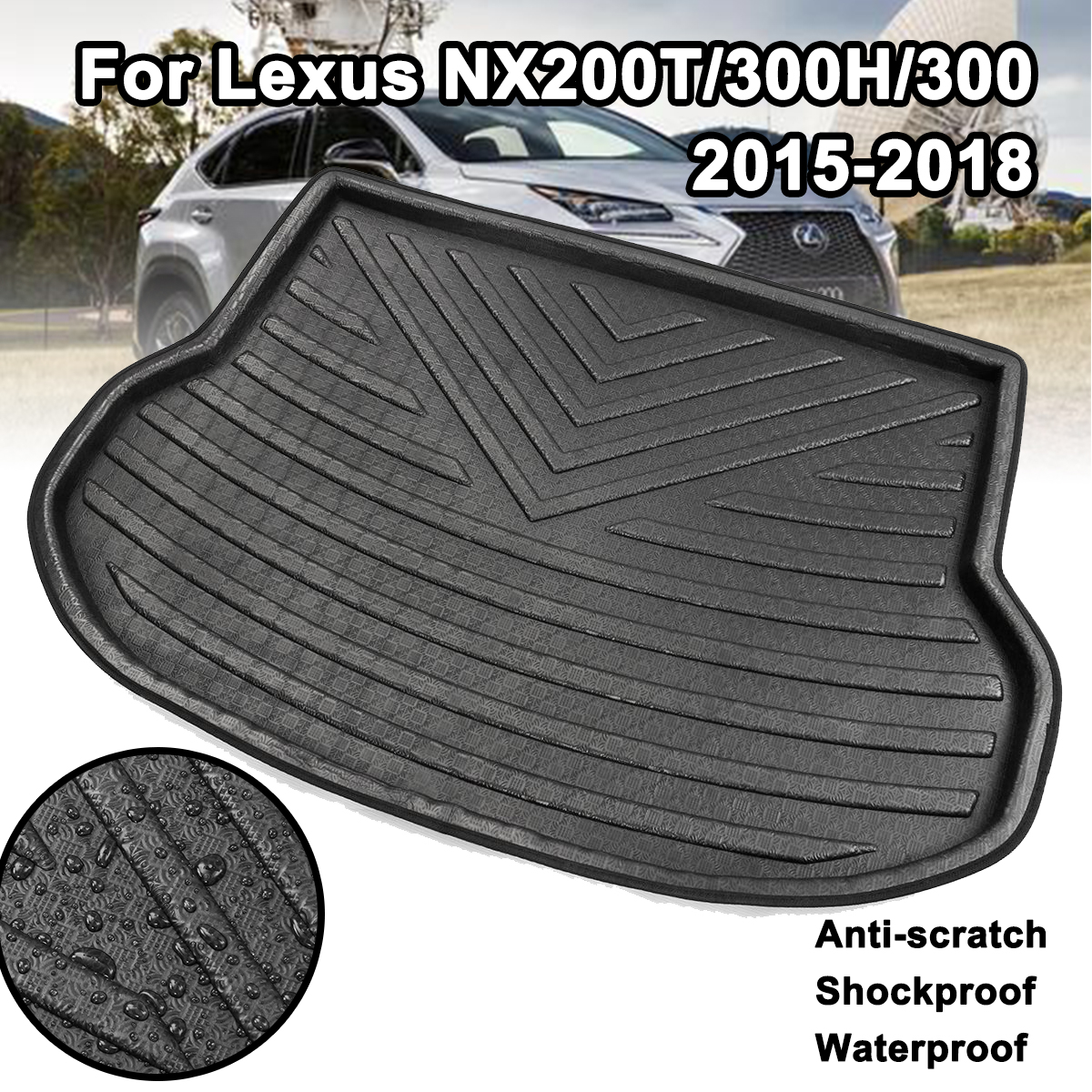 For <font><b>Lexus</b></font> NX NX200T <font><b>NX300H</b></font> NX300 2015-2018 Rear Trunk <font><b>Mat</b></font> <font><b>Floor</b></font> Tray Carpet Mud Kick Pad Cargo Boot Liner Car Accessories image