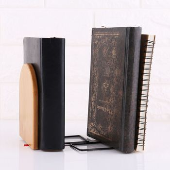 Natura bambusowy Organizer na biurko biuro strona główna Bookends Book Ends uchwyt na stojak półka Bookrack tanie i dobre opinie OOTDTY Book Shelf Other