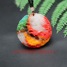 Натуральный цвет Нефритовый дракон кулон ожерелье Китайский