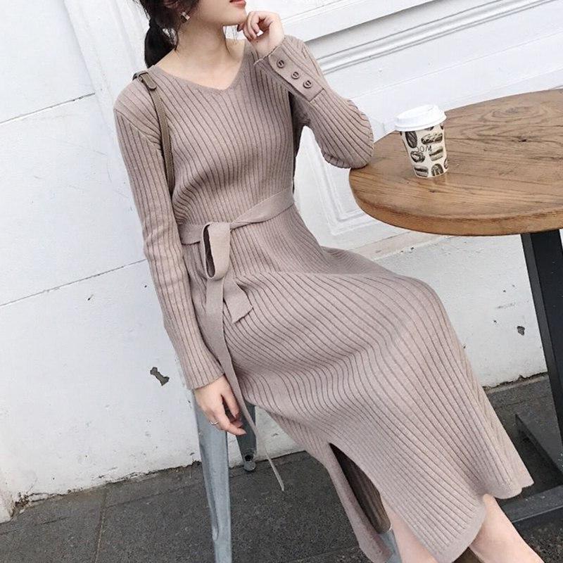 Autumn Korean Fashion Black Sweater Dress Women Knitted Sweaters Dresses Elegant Women High Waist Sweater Dress Vestidos
