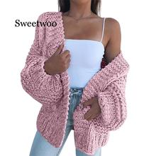 New Spring 2020 Female Warm Knit Cardigan Sweater Coat Short Female Knitted Moha
