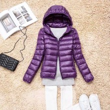 Women Ultra Light White Duck Down Jacket Hooded Winter Duck
