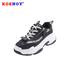 Koznoy Sneakers Women Spring Thick Bottom Dropshipping Fashion Metal Decorating Breathable Muffin Leisure Shoes
