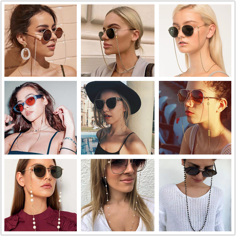 kissme Sunglasses Masking Chains For Women Multiple Acrylic Pearl Crystal Eyeglasses Chains 2021 New Fashion Jewelry Wholesale