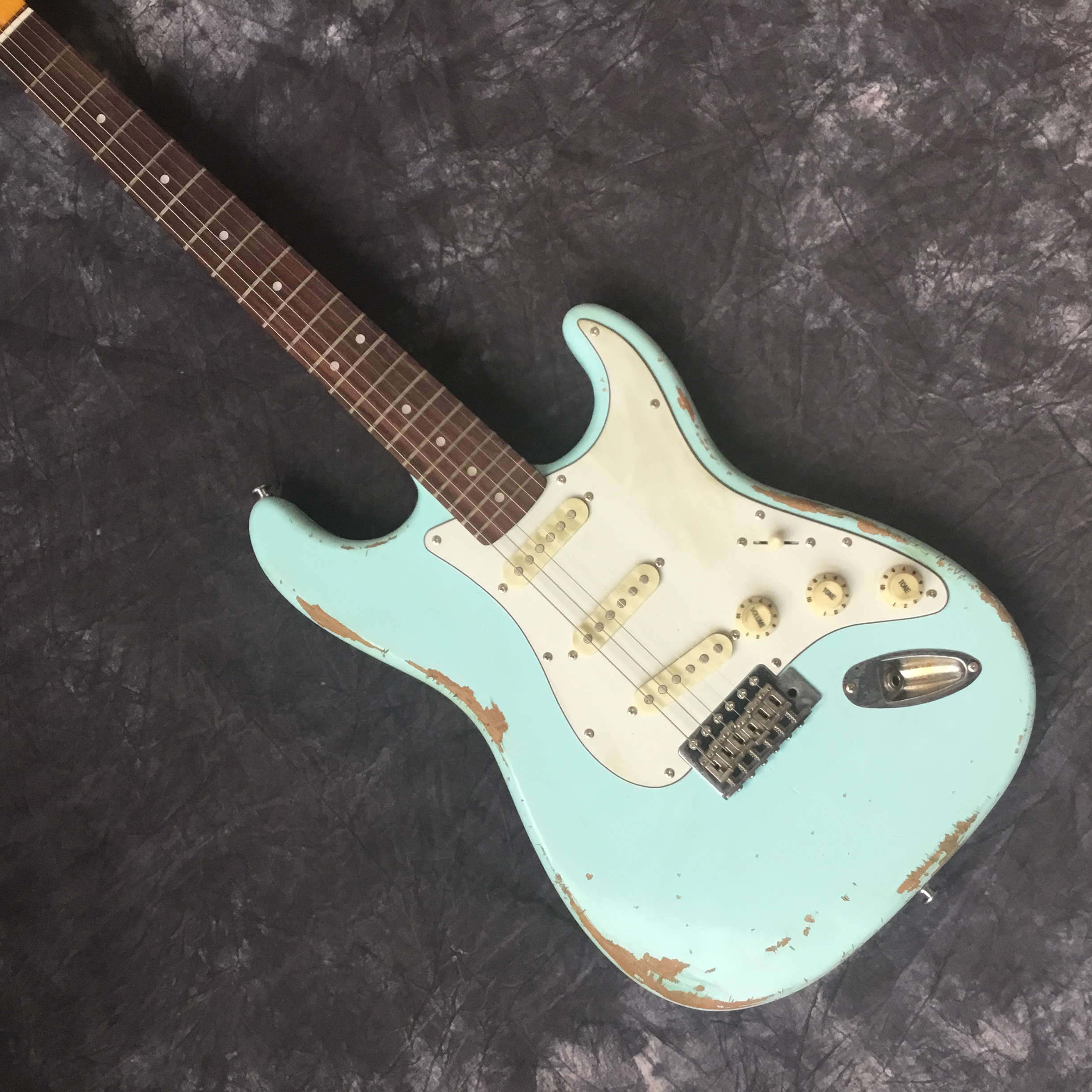 Custom Electric Guitar ST, handwork 6 Strings Fingerboard, Relic by Hands guitar, Stratocasterre gitaar color blue image