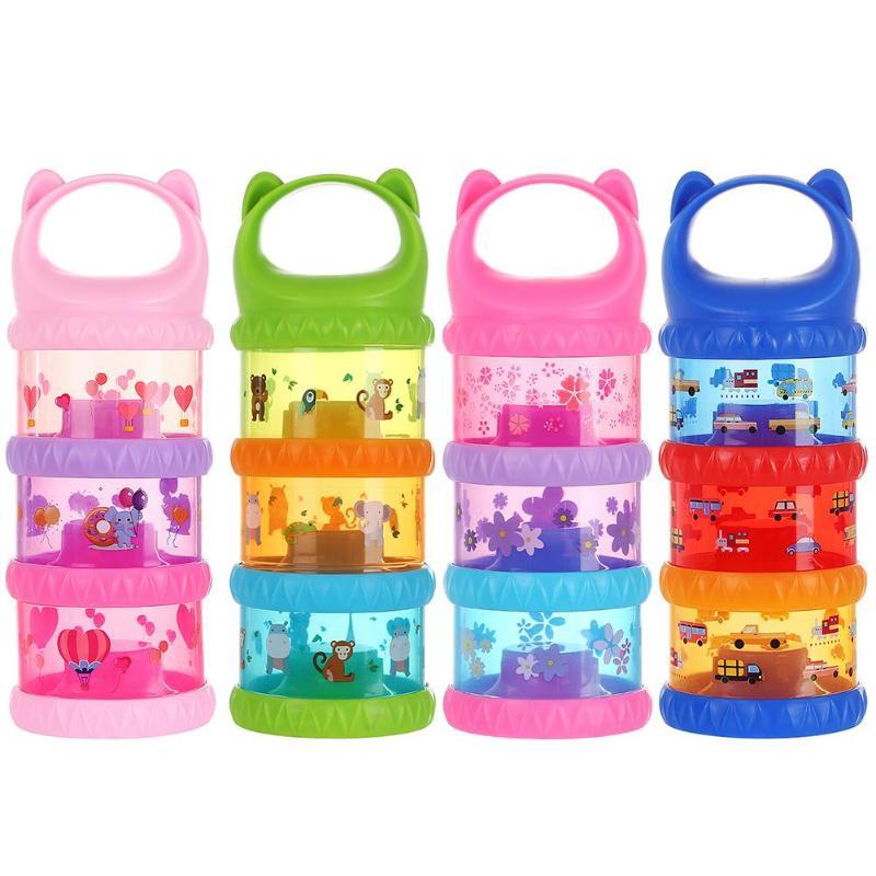 3 Layer Portable Portable Toddler Food Storage Box Cartoon Print Milk Powder Container Baby Feeding