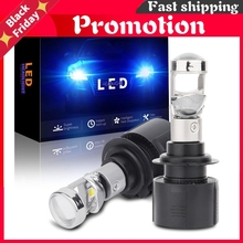 2x Low Beam Lamp H7 Led Mini Projector Lens Automobles Bulb 14000lm Conversion Kit Car Headlight 70w/Pair 12v24v Lhd 6000k
