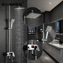 Modern LED Digital Display Shower Faucet Set Rain Shower Head 3-way Handshower Digital Display Mixer Tap Bathroom Shower Faucet led digital shower controller thermostatic shower mixer touch shower faucet mixer digital display shower panel
