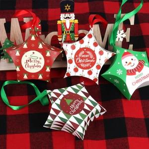 8 шт рождественские подарочные коробки Санта Клаус Конфеты коробка звезда форма Счастливого Рождества коробки сумки для дома Новый год Рож...