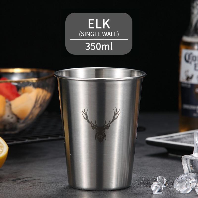 WORTHBUY пивная кружка с милым узором, 304 нержавеющая сталь, кофейная кружка с двойной стенкой, кухонная посуда для напитков для детей, пивная чашка для молока воды - Цвет: Single Wall A
