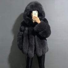 rf1991 Super Warm Women's Fashion Fox Fur Coat with Big Hood