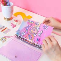 Kawaii A6 Binder Tagebuch Notebook und Kugel Zeitschriften Koreanische Spirale Ring Planer Organizer Notebook Transparent DIY Wöchentlich Notizblock