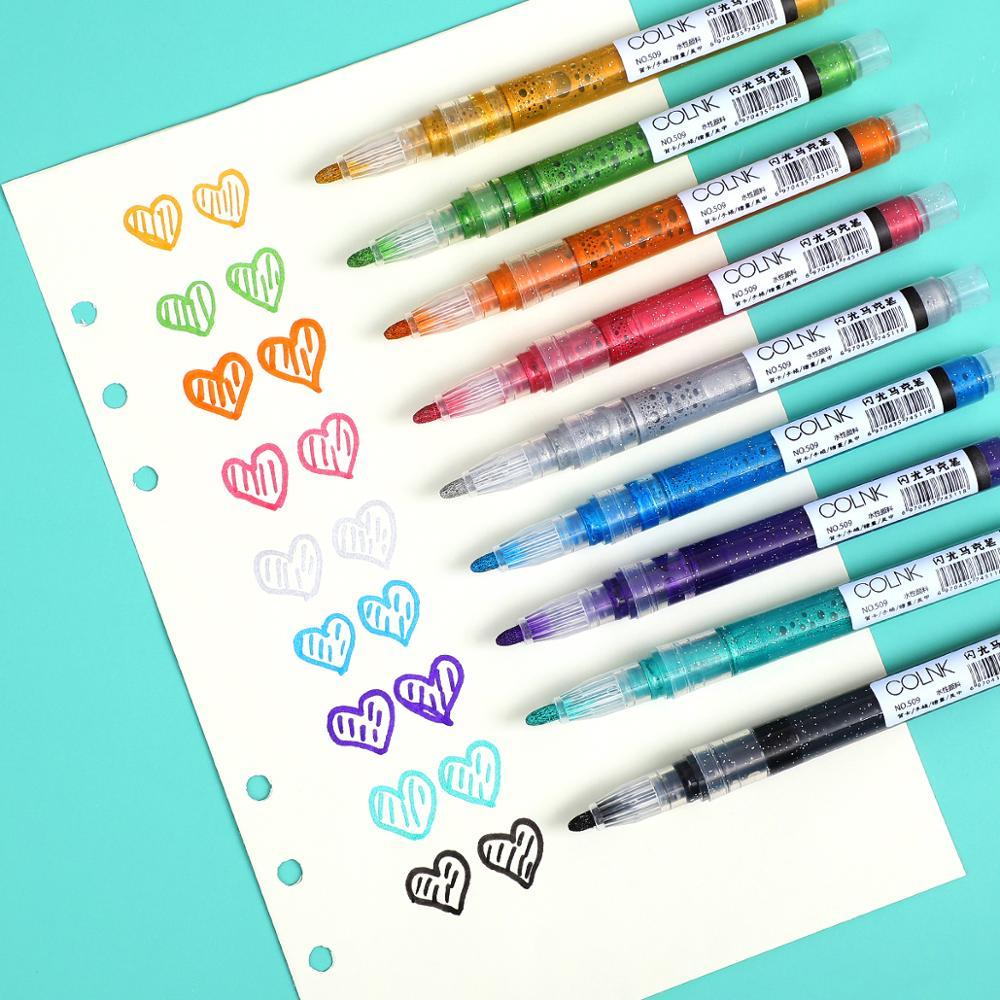 JIANWU 9pcs/set Cute Direct Liquid Type Marker Pen Water Color Flash Marker Pen For Paint Draw For Bullet Journal Pen Kawaii