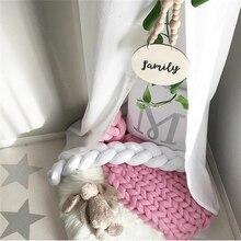 1Pcs 1M/2M/3M Baby Handmade Nodic Knot Newborn Bed Bumper Long Knotted Braid Pillow Baby Bed Bumper Knot Crib Infant Room Decor недорого