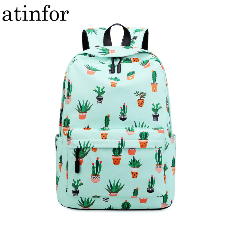 Atinfor Brand Waterproof Nylon Lightweight Cactus Printing Backpack Women 16.5 Inch Middle School Student Book Bag