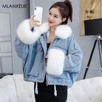 Winter Cotton Liner Fur Collar Denim Jackets Women Plus Size Loose Warm Denim Coat Korean Female Thicken Cowboy Parka Outwears