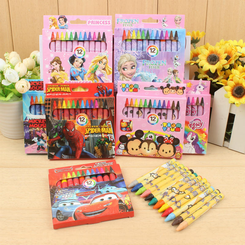 Kawaii Cartoon Oil Brush 12 Color Children Art Painting Coloring Crayons Student Supplies Office Supplies Back To School