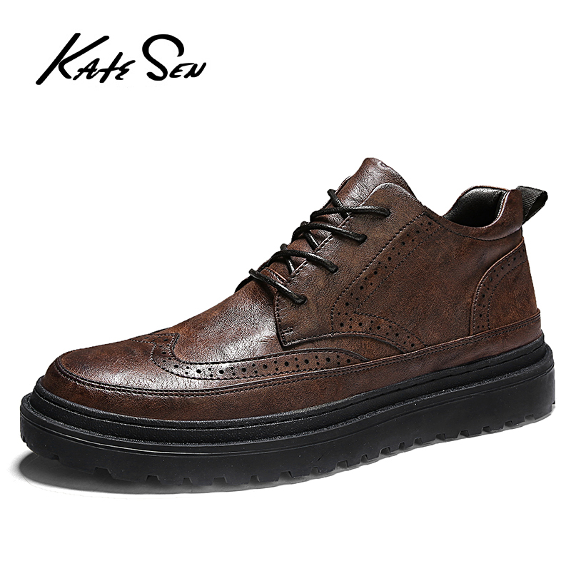 KATESEN Men Shoes Fashion Genuine Leather Male Shoes Luxury Brand Mens Casual Dress Shoes Lace Up Vintage Carved Flats Shoes Men
