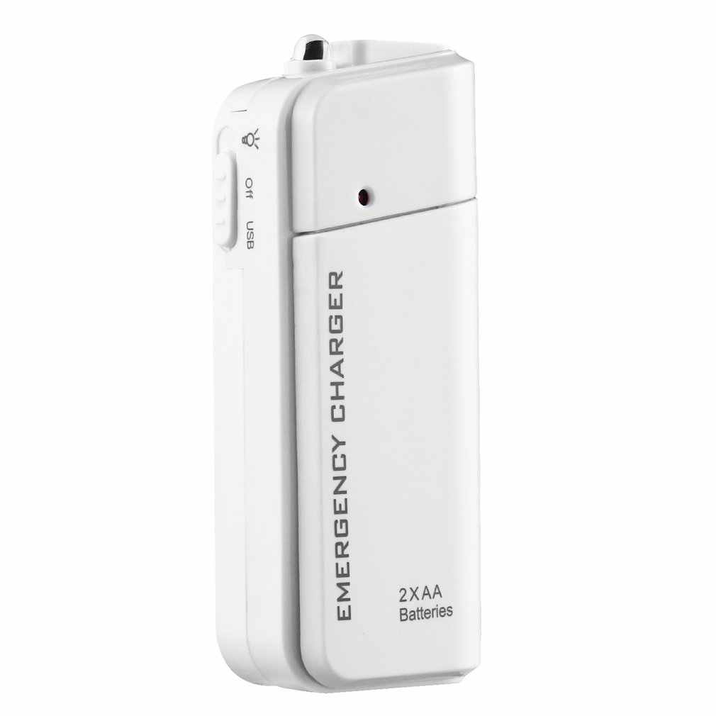 Universal Portabel USB Darurat 2 AA Baterai Extender Charger Power Bank Supply Kotak untuk iPhone Ponsel MP3 MP4 Putih