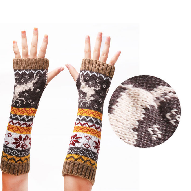Women Wool Arm Warmers Autumn Winter Gloves Fashion Fingerless Button Knitted Mitten Long Gloves Guantes Mujer Tactical Gloves