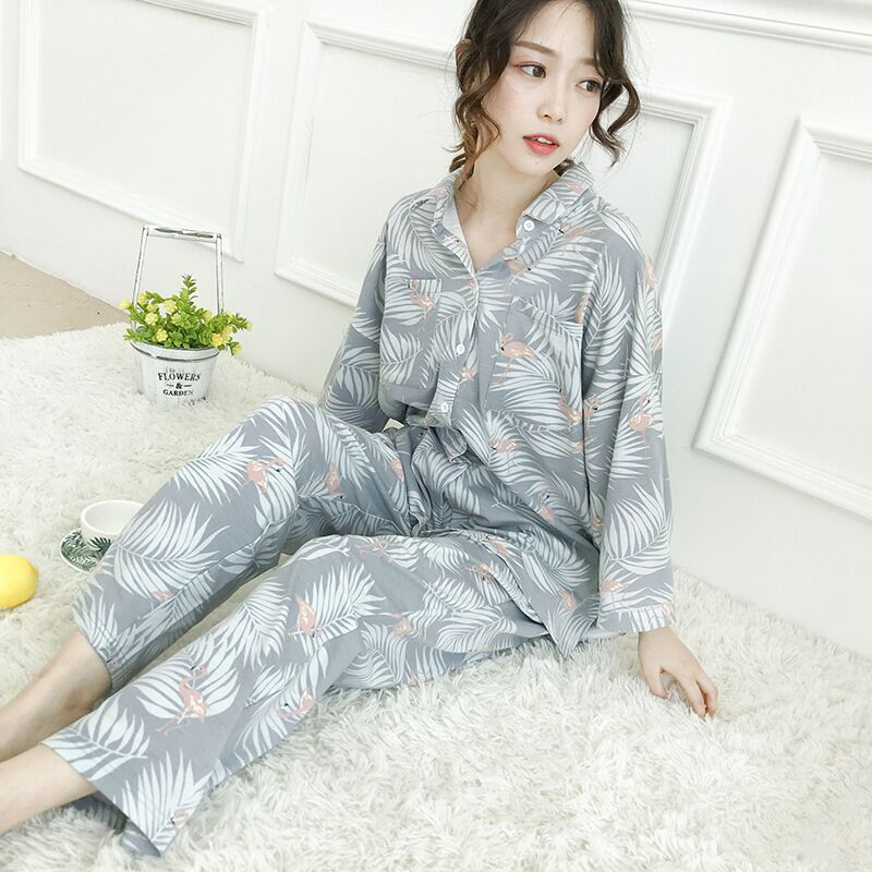 Image 3 - Womens Pajamas Sets Autumn Cotton Flamingo Lapel Top + Long Pant 2 Piece Sets Pajamas Set For Women Sleepwear Girls Pyjamas SuitPajama Sets   -