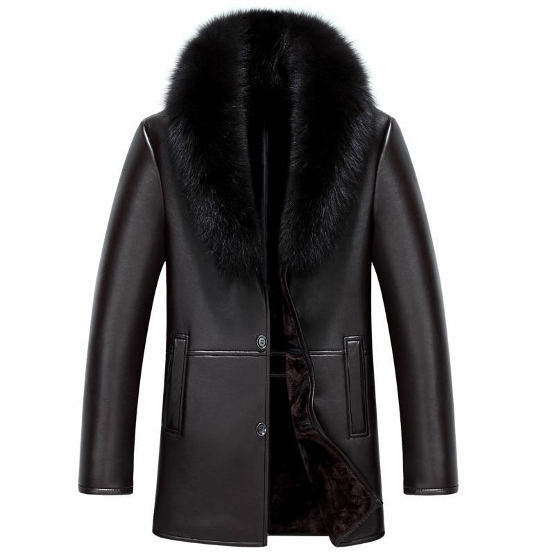 Men Coffe Black Leather Jacket Winter Minus 30.Full Warm Fur Men Coat Removable Fox Fur Collar Slim Size Men Jacket YYJ1