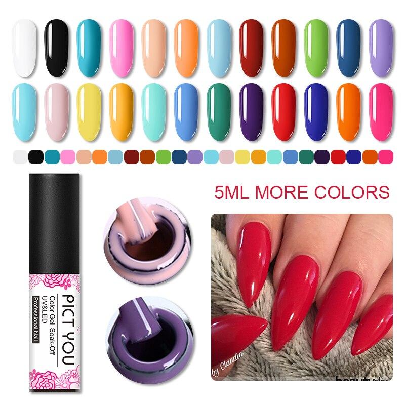 PICT YOU 5ml Nail Gel Polish UV LED Gel Varnish Semi Permanent Vernis  Soak Off Nail Art Gel Nail Polish 60 Colors