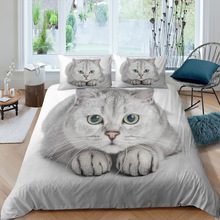 Cut Cat Duvet Cover Set Twin Queen King Size| Soft Durable Bedding Set for All Seasons Home Textiles Quilt Cover Pillowcase
