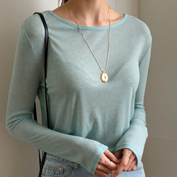 New Spring Top Sexy T Shirt Women Elasticity T-Shirt Summer Tee Woman Clothes Slim Tshirt Female Skinny  Cotton Long Sleeve Tops 1