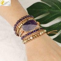 CSJA, многослойные кожаные браслеты с натуральным камнем, фиолетовый кристалл, 5 нитей, браслет для женщин, богемные ювелирные изделия ручной ...