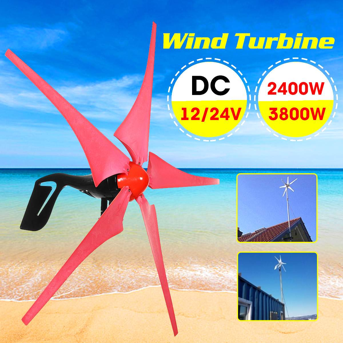 12 V/24 V 2400 W/3800 W vent pour le générateur de Turbines 5 éoliennes Turbines génératrices permanentes adaptées à la maison