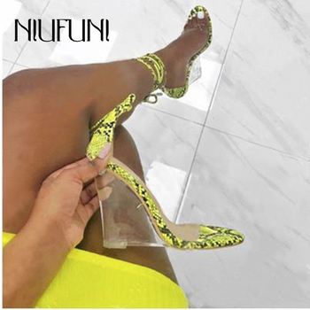 Snake Pattern Ankle Strap Transparent Crystal Women's Sandals 2020 Wedge Heel Shoes Clear High Heels Women Shoes Wedge Sandals womens high heel summer shoes single strap open toe sandals street shoes snake grain pattern yellow street sandals