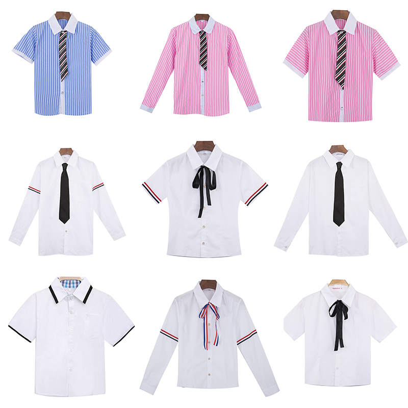 Hot Korean Women JK High School Uniforms Tops Students Girls Harajuku Preppy Style Plus Size White Shirt Top Blouse Send Tie XXL