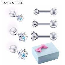3Pairs/Box 3mm/4mm/5mm Cute Small CZ Star Shape Screw Stud Earrings For Women Girls Kids Piercing Jewelry Orecchini Aros Aretes