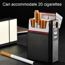 Чехол для сигарет, чехол для зажигалки для курения, беспламенный алюминиевый сплав, USB Перезаряжаемый ветрозащитный USB Зажигалка