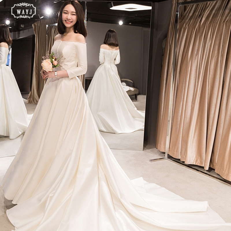 WAYJ New Wedding Dress White Long Sleeve Satin Off-The-Shoulder Lace-Up Trailing Lace Fashion Simple Elegant Bride Wedding Gowns