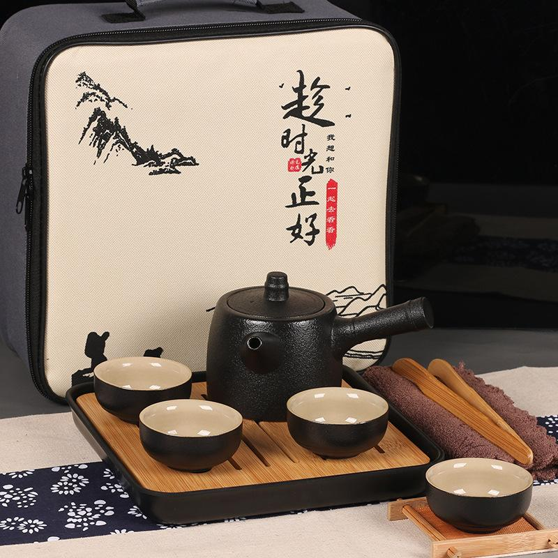 Ceramics Tea Set Travel Portable Tea Set Include 1 Teapot 4 Teacups 1bag Teapot Chinese Travel Ceramic Portable Teaset Gaiwan