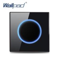 Wallpad-Interruptor de luz de pared de 1, 2, 3 y 4 entradas, 1 vía y 2 vías, Sensor de vidrio negro, luz de paso, cortina, impulso, interruptor momentáneo, indicador LED
