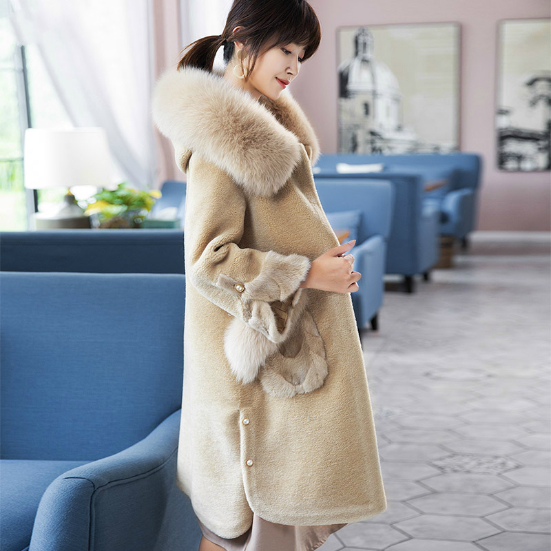 Real Women Wool Fur Coat Long Shearing Coats 2020 Luxury Winter Jacket Natural Fox Fur Trim Hooded Clothes KQN18105        S