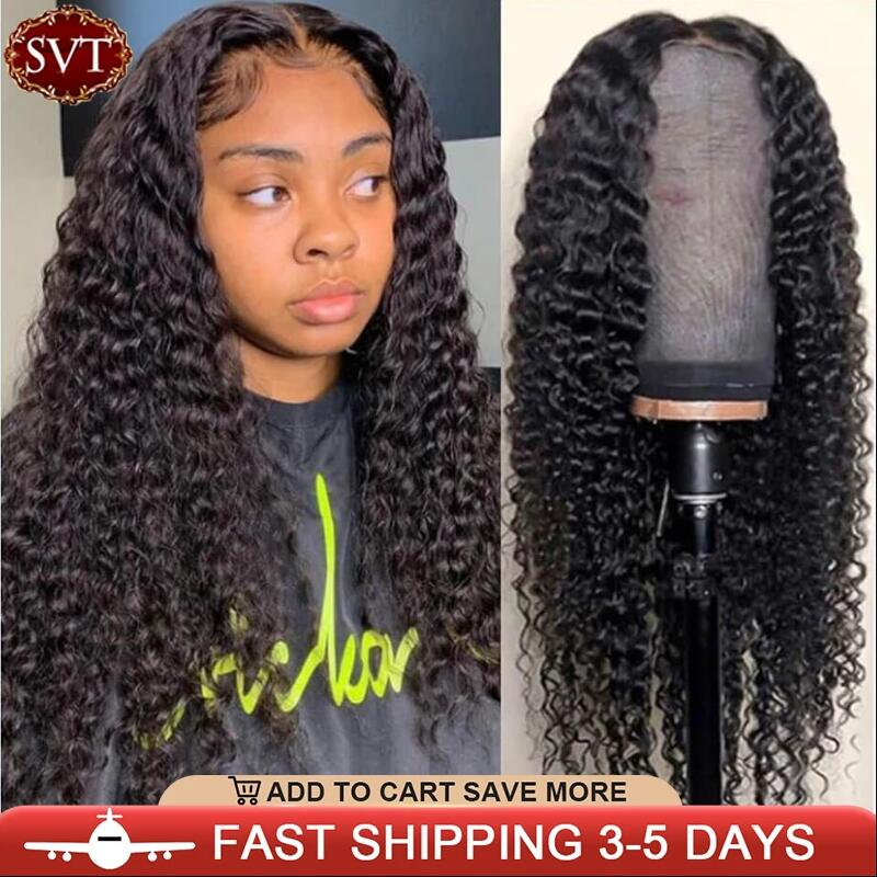 SVT Indian Deep Curly Lace Front Wig Human Hair Wigs For Black Women Deep Wave 4x4 Glueless Lace Closure Wig Prelucked Hairline