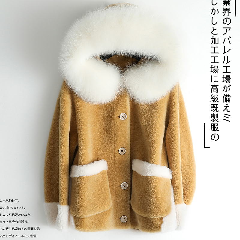 Shearling Sheep Real Fur Coat Female Jacket Winter Jacket Women Fox Fur Collar 100% Wool Coats Chaqueta Mujer MY4071 S