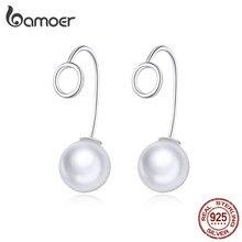 Bamoer Geometrische Design 925 Sterling Silber Runde mit Perle Ohr Baumeln Ohrringe für Frauen Mode Schmuck Bijoux 2020 BSE362