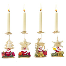 Christmas Candle Desktop Decoration Background Candle Holder Decoration New Christmas Wrought Iron Candlestick Ornament(China)