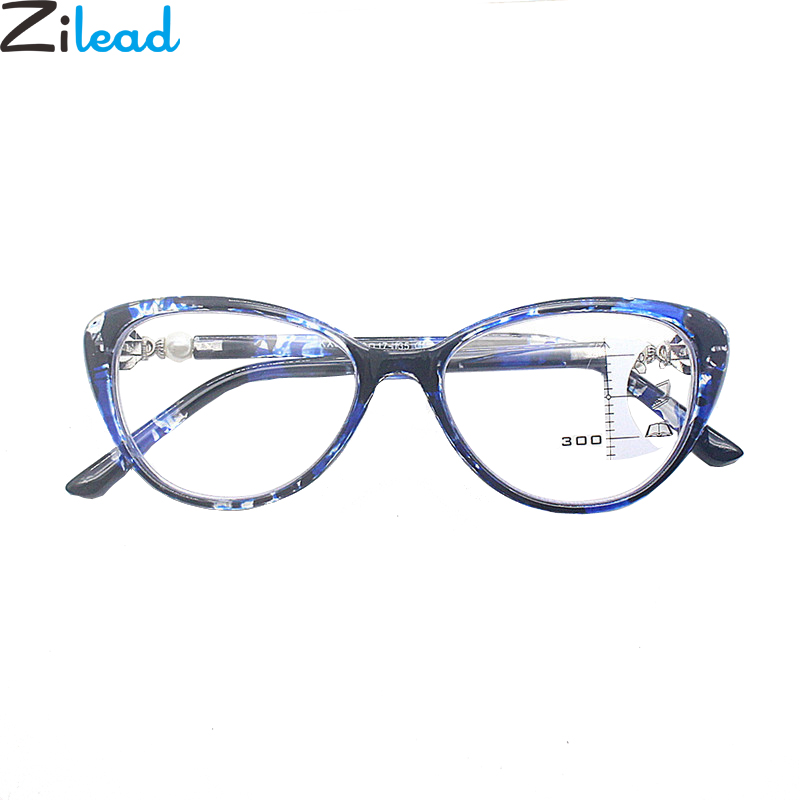 Zilead Cat Eye Progressive Multifocal Reading Glasses Lady Pearl Floral Presbyopic Eyeglasses Hyperopia Eyewear +1.0+1.5...+3.5