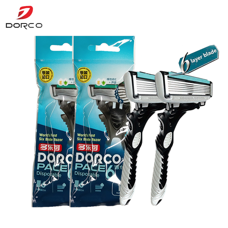 High Quality Original DORCO Razor Machine Shaver Pace6-Layer BladeStainless Steel Safety Razor For Men 2 Handles 2 Blades