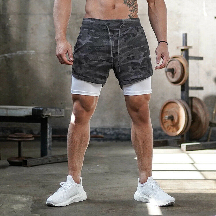 Mens Gym Shorts Jogging Running Gym Sports Breathable Fitness Exercise Casual Double Layer Shirt Hidden-Pocket Shorts