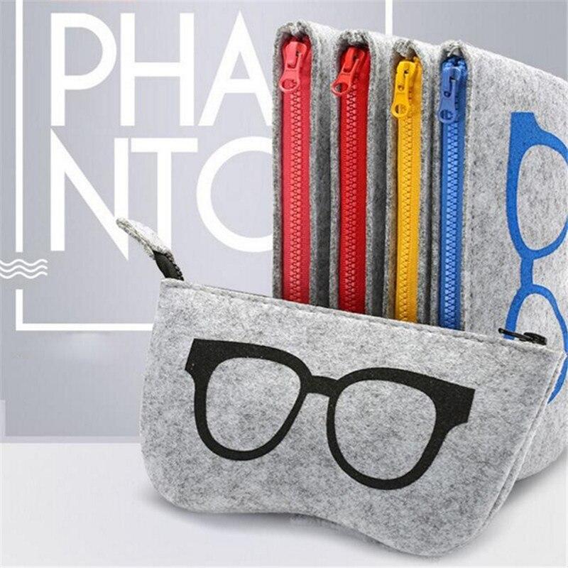 Glasses Printing Cosmetic Cases Make Up Case For Women Men Glasses Box Felt Sunglasses Bag Eyeglasses Cases Men Eyewear